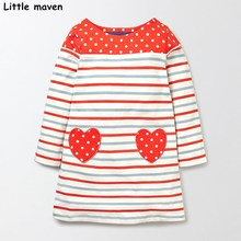 Little maven kids brand clothing 2017 autumn baby girls clothes Cotton cloth heart striped girl long sleeve dresses S0272