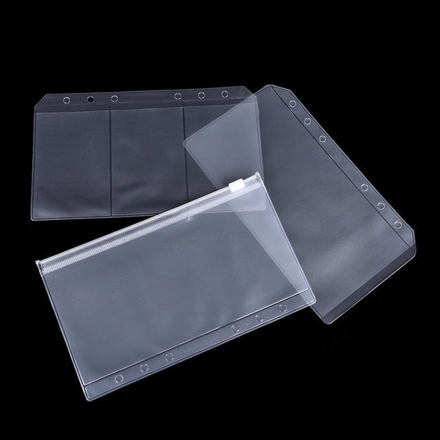 7593a7cfd253 US $0.57 16% OFF A5/A6 PVC Transparent Zip Lock Envelope Binder Pocket  Refill Organiser Stationery for 6 Holes-in File Folder from Office & School  ...