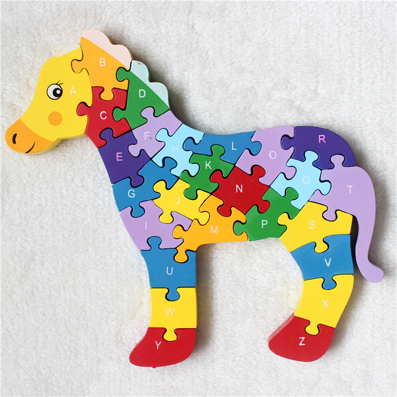 wooden animal puzzle educational toys digital 26 letter puzzlechina mainland