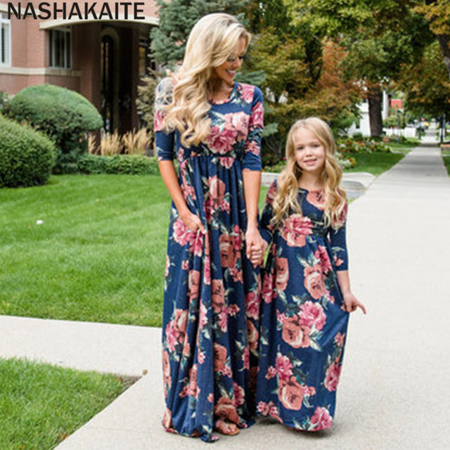 659b17c350b7 NASHAKAITE Family Matching Clothes Autumn Three Quarter Mother Daughter  Dresses matching outfits Family Look mom daughter