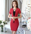 Novelty Red Formal Uniform Styles Professional Business Suits Jackets And Skirt 2016 Summer Ladies Outfits Blazers Sets