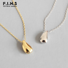 F.I.N.S Simple 925 Sterling Silver Smooth Teardrop Necklace Pendant Personality Short Jewelry Korean Fashion