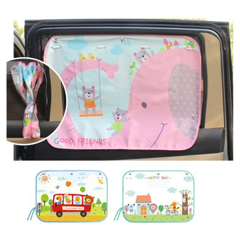 70*50cm Car Cartoon Curtain Cover Sun Blocking Auto Curtain Side Blocking Tensile Sunshade Curtain for Children car-styling 9449
