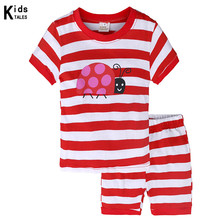 Купить с кэшбэком Summer Children's clothing sets cartoon printing Baby girl pajamas suit red stripe sets cotton shirts + casual shorts 2pcs
