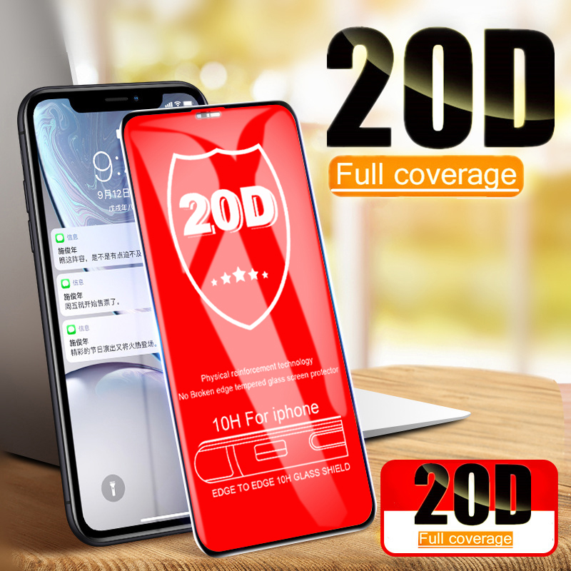 20D Curved Edge Full Cover Protective Glass For iPhone 7 8 6 6S Plus Tempered Screen hard Protector For X XR XS Max Glass Film