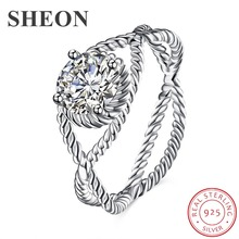 SHEON  New Arrival 925 Sterling Silver Ring Twisted Line Round Clear CZ Finger Rings for Women Wedding Engagement Jewelry Anel