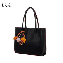 Fashion Girls Handbags Leather Shoulder Bag Candy Color Flowers Totes Leather Large Tote Bags for Women 2018 bolsa feminina