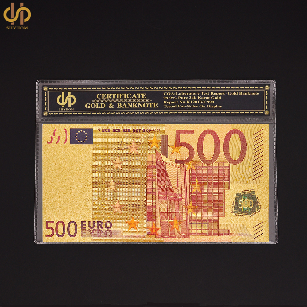 Banknote Paper Money 500 Euro Colored Banknote Gold Foil Bank Note With COA Holder