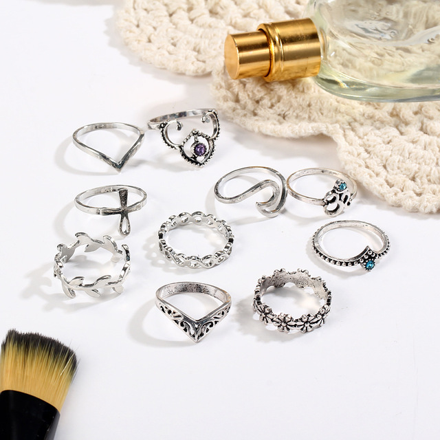 10pcs/Set Antique Silver Color Rhinestone Rings 4