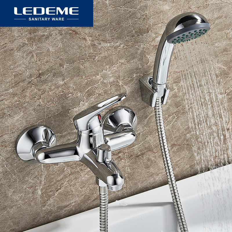 LEDEME Bathtub Faucet Shower 1 Set Bathroom Fixture Chrome Plated Shower Faucet Bathtub Faucets Brass Head Outlet Pipe L3013