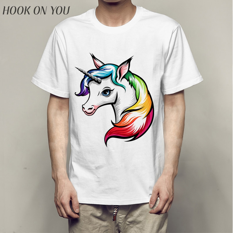 2018 New Arrivals Men's Fashion Funny launching Unicorn Printed Short Sleeve T-Shirt Male Cool Tops Casual O-neck Tee