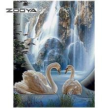 ZOOYA Diamond Painting Landscape swan Embroidery Scenic Pattern Rhinestones Needlework DIY Mosaic Kit RF1612DQ