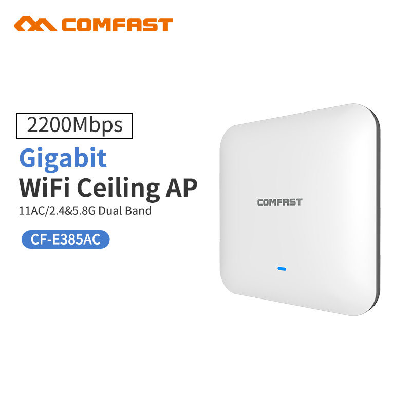 COMFAST CF-E385AC 2200M Gigabit Dual band Router WAVE2 Ceiling Wireless WiFi AP Access Point Repeater Open ddwrt Wi fi Access AP 2pcs 1750m gigabit ac wifi router 2 4ghz 5g dual band wifi repeater access point ap router cf e380ac wireless ceiling ap openwrt