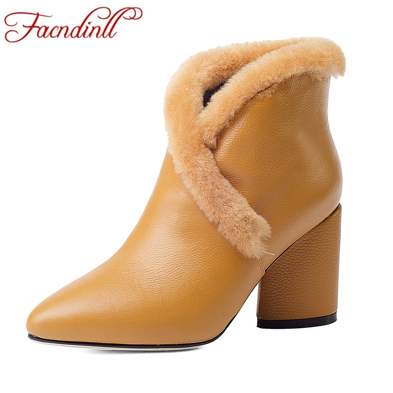 FACNDINLL women cow genuine leather ankle boots shoes high heels pointed toe shoes woman autumn winter dress party riding boots facndinll women ankle boots autumn shoes handmade genuine leather high heels black sexy pointed toe brand shoes woman snow boots