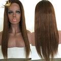 7A brasileño de la virgen del cordón del pelo humano pelucas Glueless del frente del cordón de la peluca negro Natural recto pelucas para mujeres negras