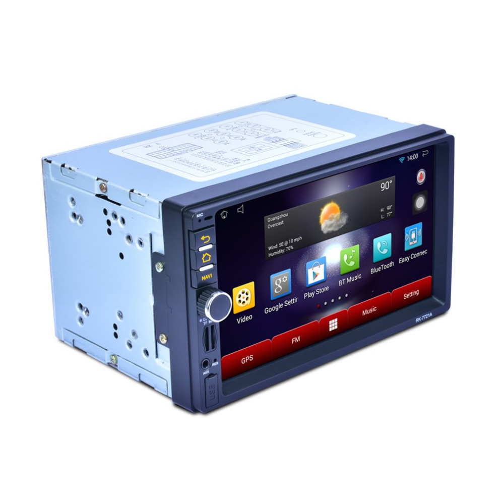 Professional 7 Inch HD 1024*600 Capacitive Screen 7 Colorful Light Function Car DVD MP3 Player Android 5.1.1 RK-7721A 9 inch car headrest dvd player pillow universal digital screen zipper car monitor usb fm tv game ir remote free two headphones