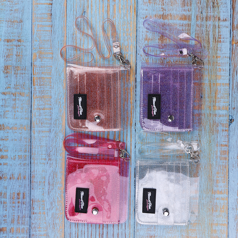 Fashion Bling PVC Transparent ID Card Holder Wallets  Folding Lanyard Short Wallet Women Girl Glitter Business Card Case Purse