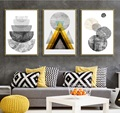Nordic Modern Geometric Abstract Pattern 3 Pieces Paintings Decoration for Living Room Wall Art Canvas Pictures No Framed