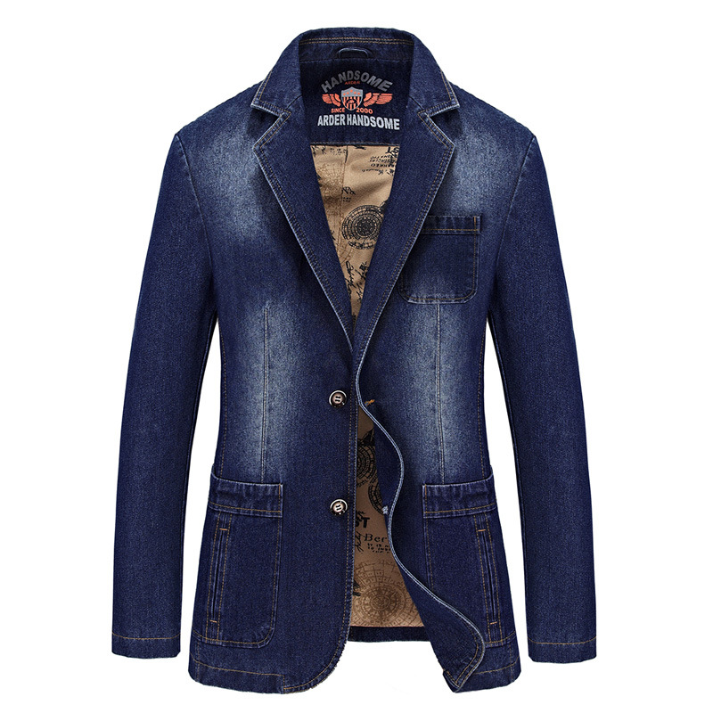 Europe And The United States The New Men's Fashion Casual Denim Loose-line Patch Pocket Suit Jacket M-4XL