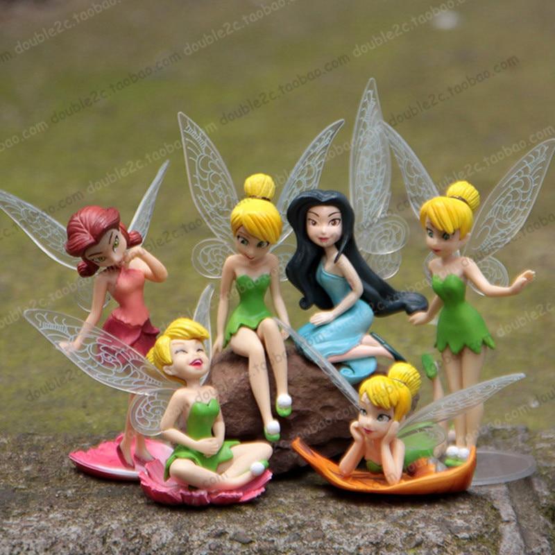 6 Tinkerbell Fairies Figurines Disney Cake Toppers Décoration Fête D/'Anniversaire