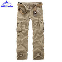 WildSurfer Cotton Multi Pockets Men Pants Tactical Military Plus Size Hiking Sports Mens Pants Camping Loose Cargo Trousers WP93