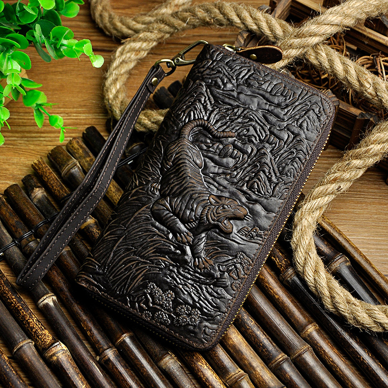 Cattle Male Genuine leather Fashion Card Holder Checkbook Zipper Around Organizer Wallet Purse Design Clutch Handbag 1016