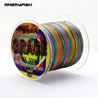 Angryfish 4 Strands 500 m Bện Dây Câu Cá Dòng Weave Multicolor PE Siêu LiuCai Series 5 Colors Một Màu Mỗi Mét