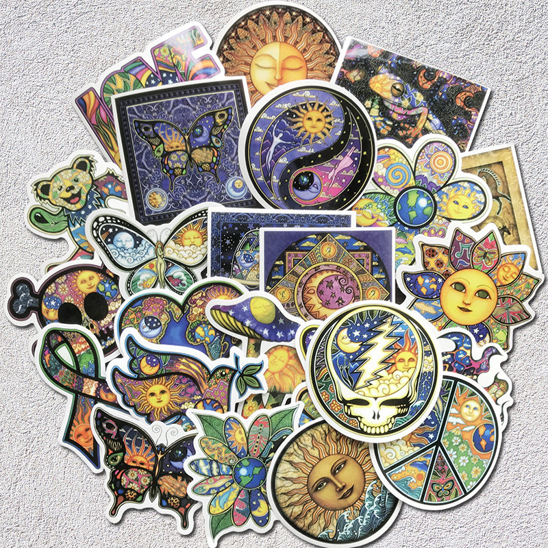 AQK 25PC/Lot Colorful Sun Moon Wishing World Peace Stickers Boho Style Bohemian Sticker For Skateboard Luggage Laptop Guitar Car
