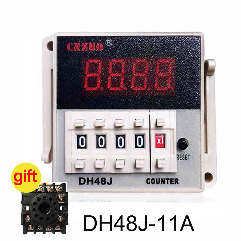 DH48J-A DH48J-11A 220V 3A Electrical Digital Counter,Preset 11 Feet 8 Feet Relay With Power Failure Memory Function with base 110vac 30 cps dh48j digital counter relay