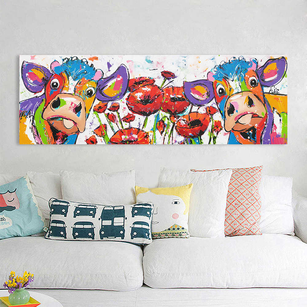 HDARTISAN Vrolijk Schilderij Wall Art Canvas Painting Animal Cow Flowers Picture Prints Home Decor No Frame