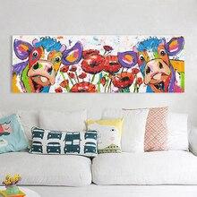 HDARTISAN Vrolijk Schilderij Wall Art Canvas Painting Animal Cow Flowers Picture Prints Home Decor No Frame