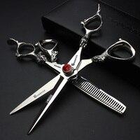 5 5 6 Inch Silver Dragon Handle Professional Hair Salon Hair Scissors High Quality Cutting Scissors