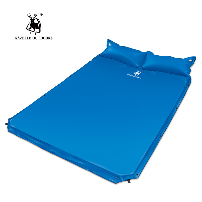 Automatic Inflatable Camping Mattress With Pillow Moistureproof Cushion Self Inflating Camping Mat Travel  Air Sleeping Pad spliced air mattress self inflating pad automatic inflatable camping mat moistureproof folding tent bed outdoor sleeping airbed