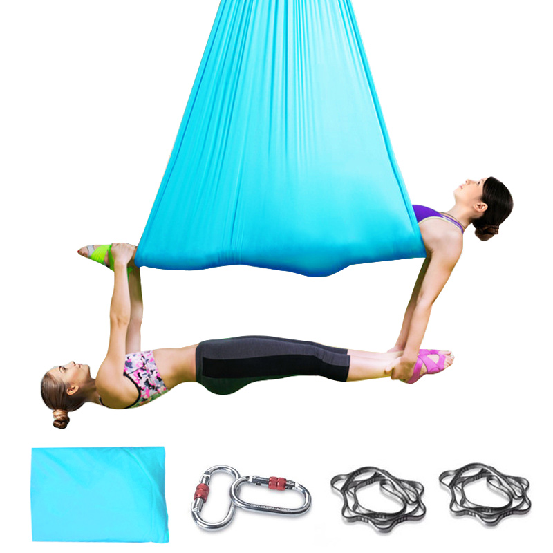 Professional 5Mx2.8M Aerial Yoga Hammock Full Set 100% Nylon Sling Yoga + daisy chain and carabiner antigraviti YOGA
