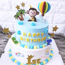 monkey toy party gifts for kids birthday decoration 2nd supplies baby toys happy cake topper