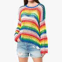 New Hollow Out Hand Knitting Rainbow Sweater Women Pullover Autumn 2019 Color Block Knitted Sweaters Ladies Jumper Poleras Mujer