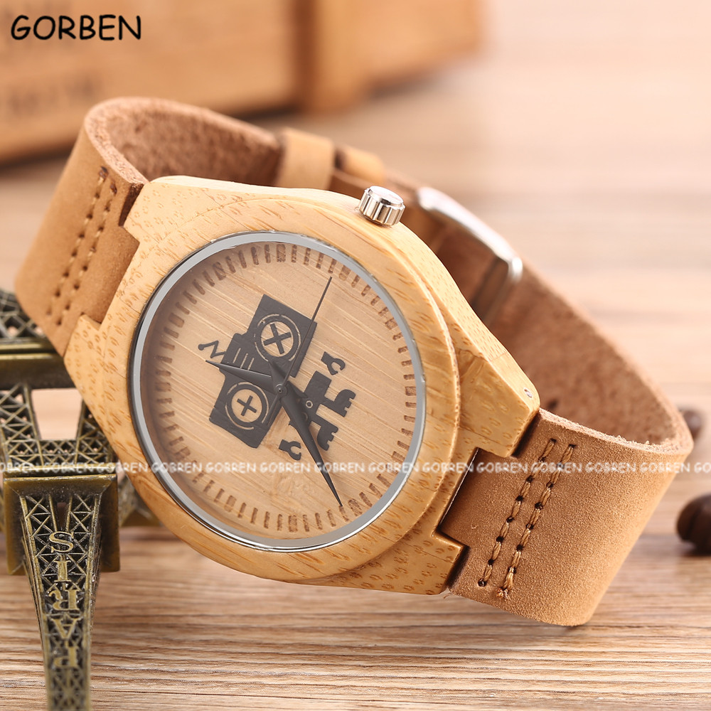 Fashion Wood Watch Robot Design Dial Cowhide Leather Band Women Mens Causal Natural Wooden Bamboo Quartz Wrist Watches Xmas Gift