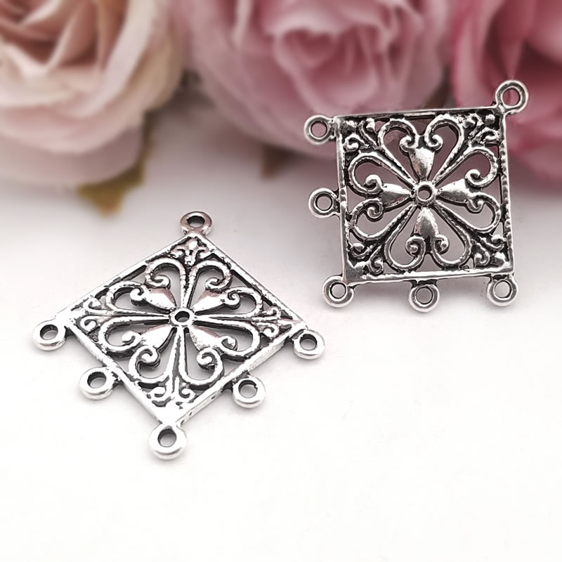 (31544)20PCS 36*34MM Antique Silver Zinc Alloy Square Earrings Connector Charms Diy Jewelry Findings Accessories wholesale
