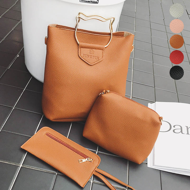 3 Pcs/Set Fashion Women Handbag Messenger Bag Purse Leather Cat Ears Metal Handle Ladies Crossbody Shoulder Bags Best S ...
