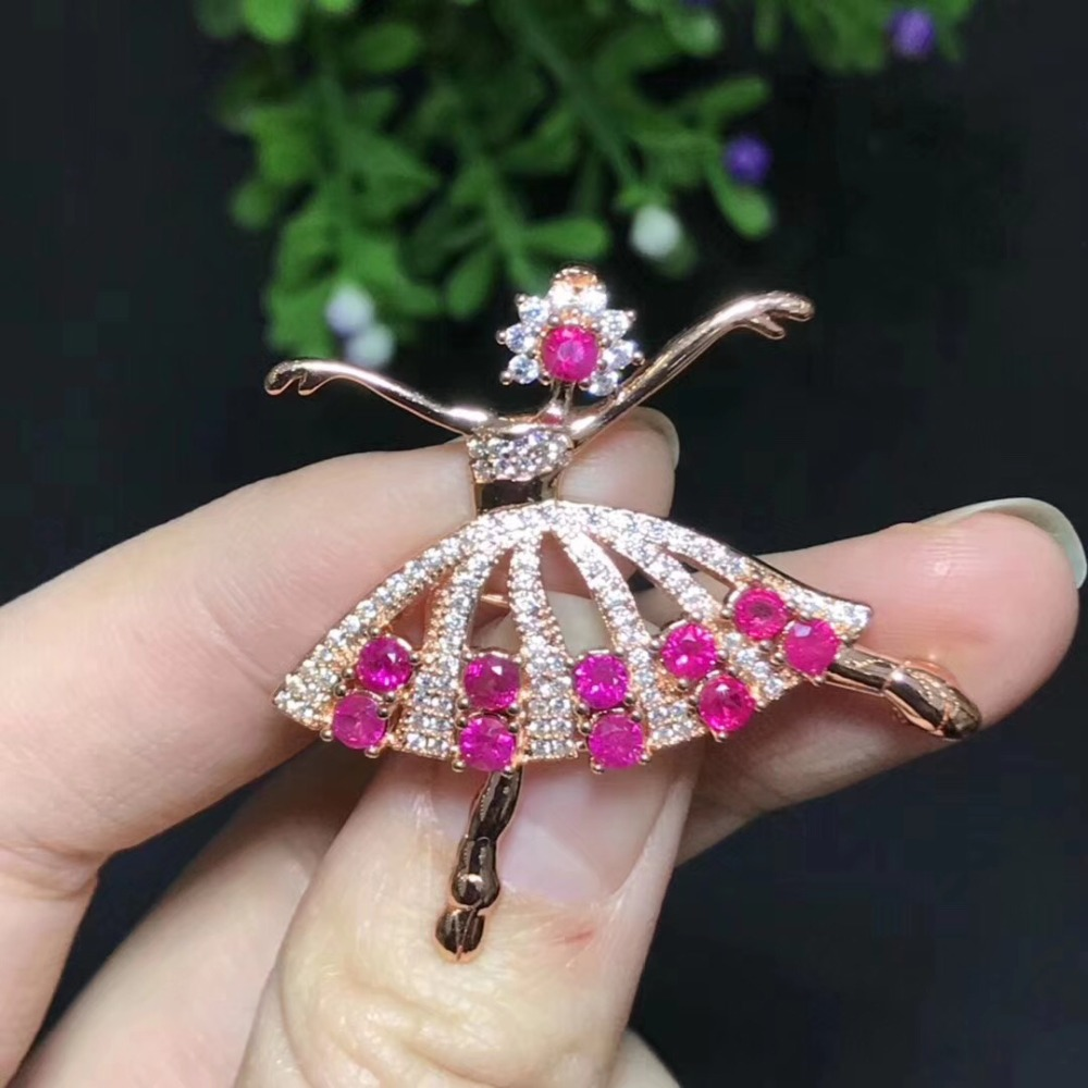 Dancing Girl Ruby brooch Free shipping Natural real Ruby 925 sterling silver brooch - 2