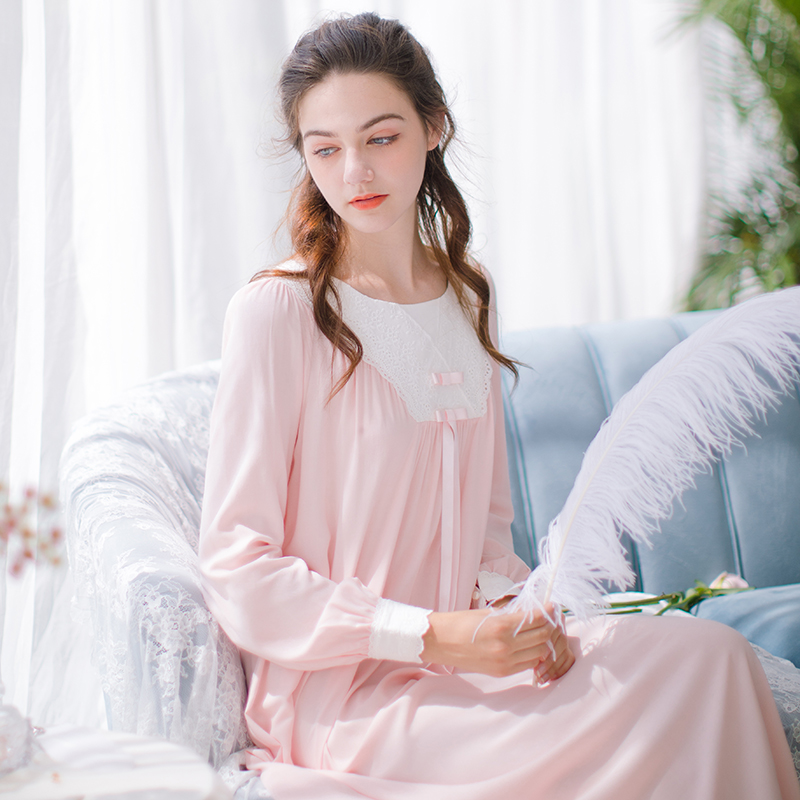 Classical Nightgown Sleepwear Women Sleep Dress Long Nightgown Home clothes Vintage