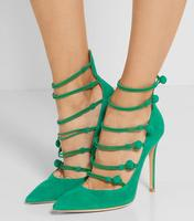 Fashion Grass Green Suede Leather Women Pointed Toe Pumps Stretch Straps Ladies Button High Heels Spring