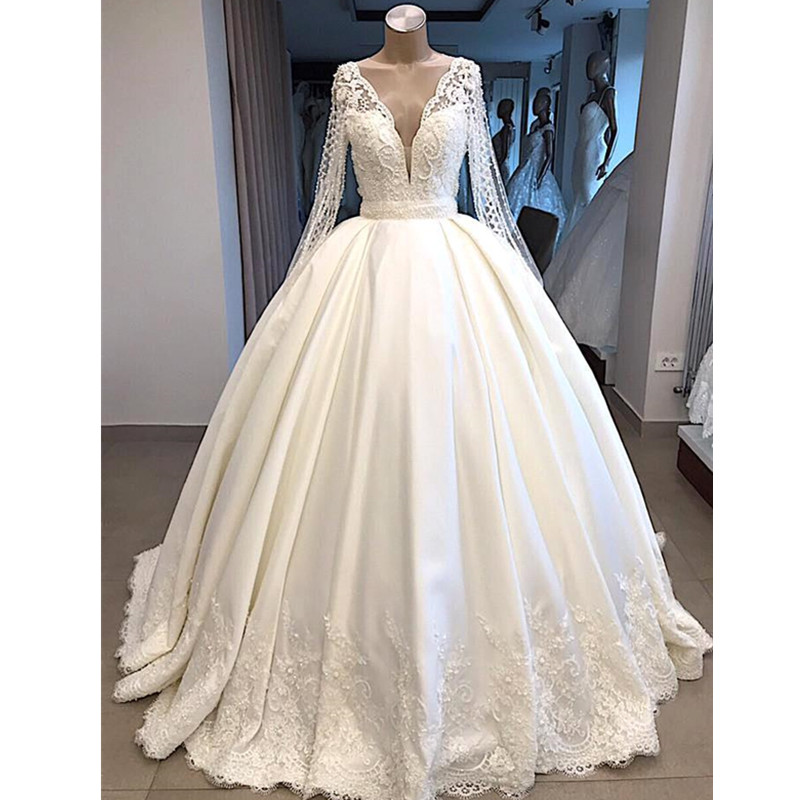 Modest Long Sleeve Ball Gown Wedding Dresses 2019 New V Neck Long Dubai Arabic Bridal Gowns Robe De Mariee