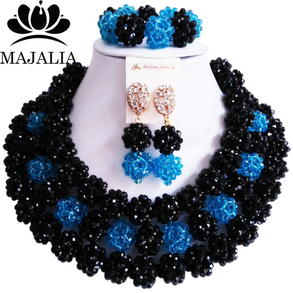 купить Fashion african wedding beads black nigerian wedding african beads jewelry set Crystal Free shipping Majalia-314 по цене 3501.87 рублей