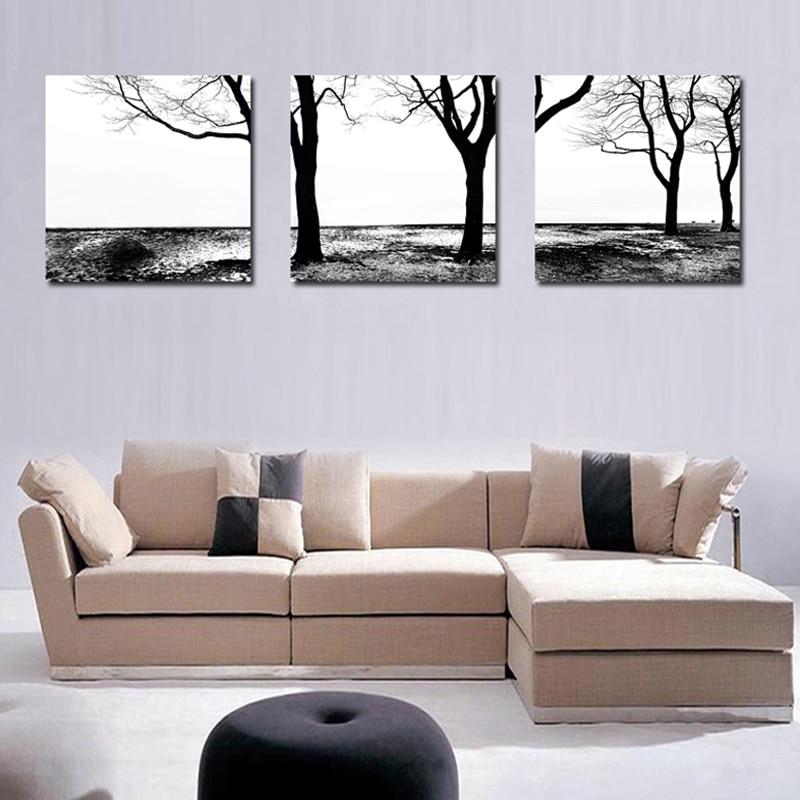 NO FRAME Black&White 3 Pcs/Set Tree Landscape Canvas Painting Modern Wall Art Home Decoration Fahsion Artwork For Bed Room