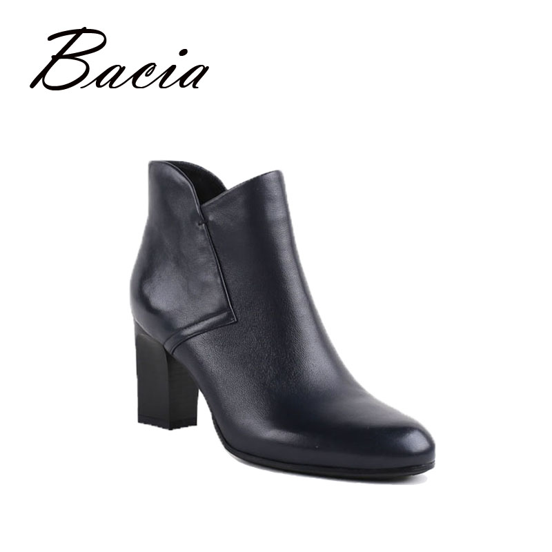 Bacia New Women High Heels Ankle Boots Genuine Leather Shoes Warm Short Plush Inside Autumn Fashion Dark Blue Botas 2016 VB030 bacia genuine leather boots short plush women shoes black simple style ankle boots with zipper handmade high quality shoes vd021
