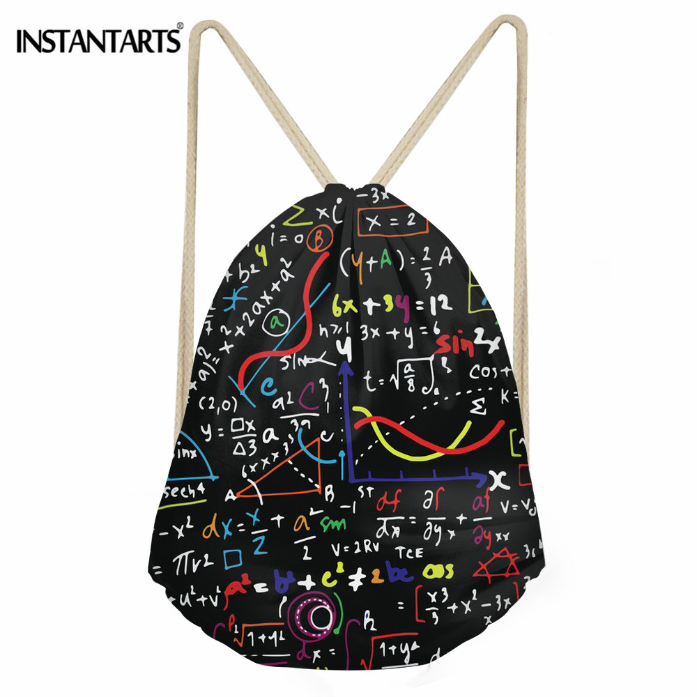 INSTANTARTS Portable Math Formula Print Drawstring Bags Girls Boys Shoes Bags Women Cotton Travel Pouch Storage String Backpack