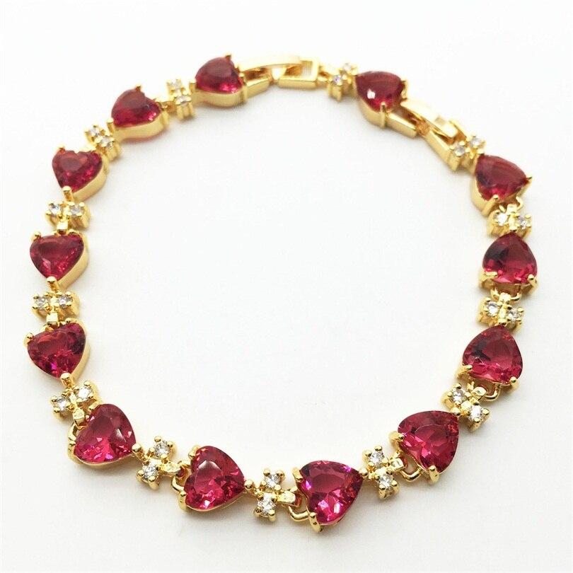 57f20ed838966 Yeni tasarım moda Gül kalp güzel zirkon bileklikler bilezikler, yüksek  kalite AAA CZ taş takı hediye kadın