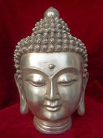 Tibet Tibetan Buddhism White Copper Shakyamuni Amitabha Buddha Head statue