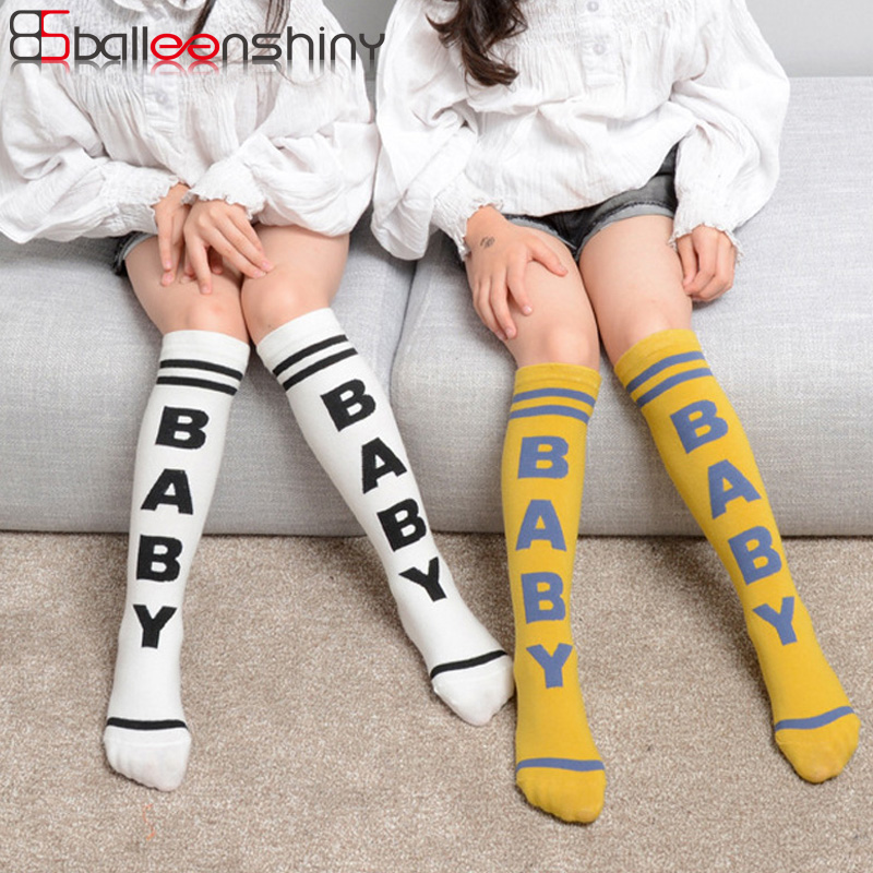 BalleenShiny Kids Striped Sports Knee High Socks Children Girls Cotton Football Letters Print Baby Long Socks New Spring Autumn все цены
